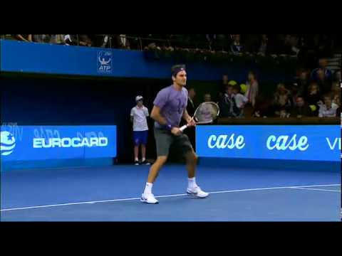 Roger Federer's FULL practice, exhibition + interview Stockholm Open 2010 1/7
