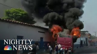 Venezuelans And Govt. Troops Clash Over Maduro Regime's Refusal To Accept Aid | NBC Nightly News - NBCNEWS
