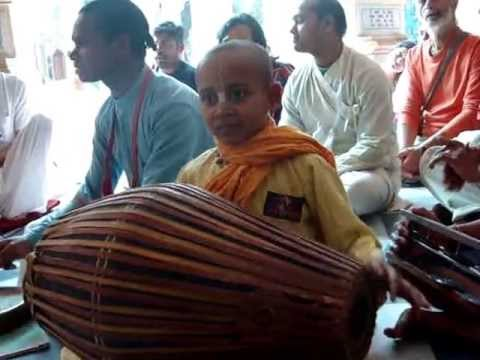 Veda at Iskcon Vrindavan Temple with Gurukul boy .. March '13