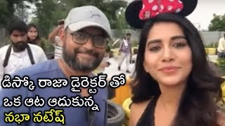 Nabha Natesh Fun With Director VI Anand On The Sets Of Disco Raja - RAJSHRITELUGU