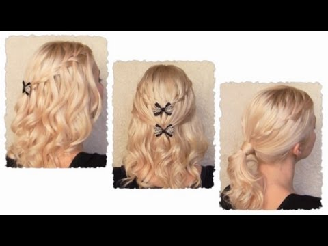 Waterfall braid hairstyles with curls for medium long hair tutorial Cute half up half down