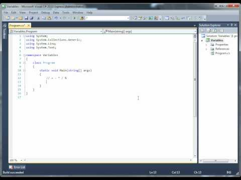 Visual C# 2010: Beyond Basics. Lesson 3: Variables, Data Types, Operators