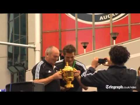 Rugby World Cup 2011: New Zealand All Blacks parade Webb Ellis Cup in Auckland