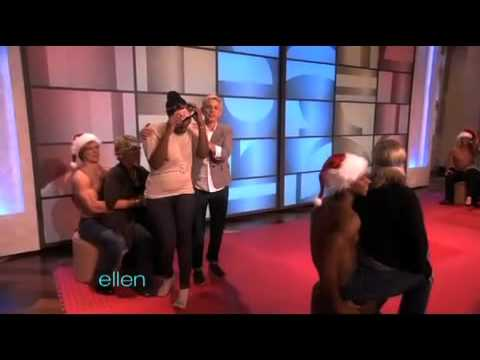 Ellen hunky musical chairs with sexy santa!!!