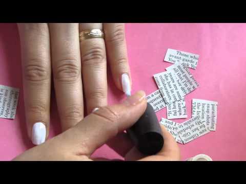 Uñas con letras de Periodico/ Como pintar tus uñas con letras de periódico