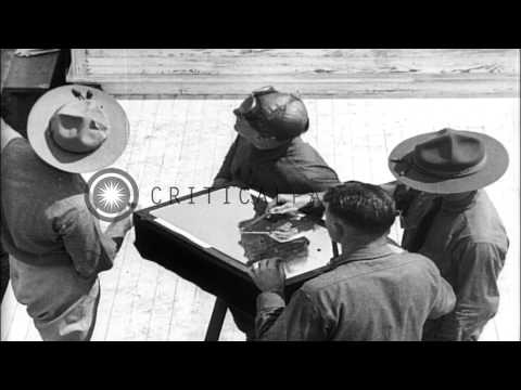 World War I US Army aviation cadets undergo aviation training and study the relea...HD Stock Footage