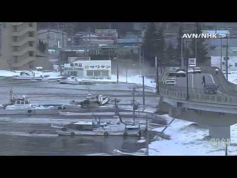 Tsunami waves hit Japan after the earthquake 3.11.2011
