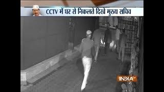 CCTV footage shows Delhi Chief Secretary Anshu Prakash leaving Kejriwal's residence - INDIATV
