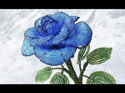 Как cделать синюю розу из бисера, своими руками, часть 2