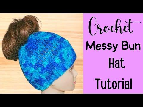 Crochet Messy Bun Hat Tutorial