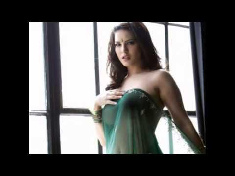 Sunny Leone Green Saree