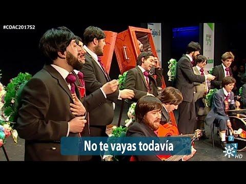 Sesión de Semifinales, la agrupación No te vayas todavía actúa hoy en la modalidad de Chirigotas.