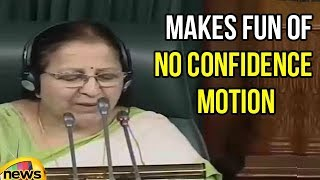 Sumitra Mahajan Makes Fun Of No Confidence Motion | Lok Sabha Sessions | Mango News - MANGONEWS