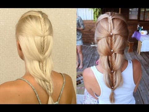 French fishtail braid tutorial for medium and long hair Cascading mermaid braid