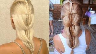 French fishtail braid tutorial for medium and long hair Cascading mermaid braid on yourself