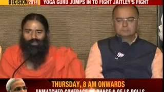 Censored by EC, Baba Ramdev campaigns for BJP - NEWSXLIVE
