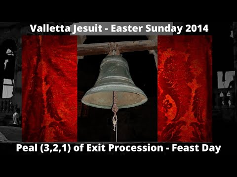 Valletta (Malta) Church Jesuit - Procession PEAL (Hrug) - 3 Bells 2014 - Item 4