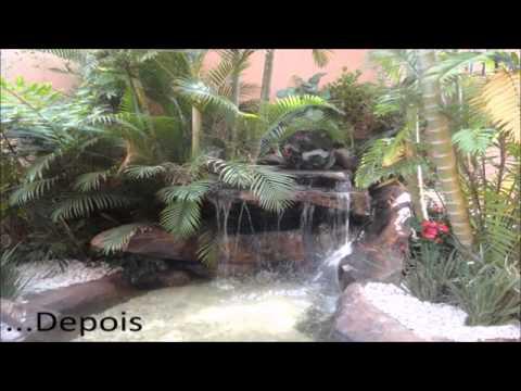 Cascatas artificiais e lagos ornamentais   Antes e Depois