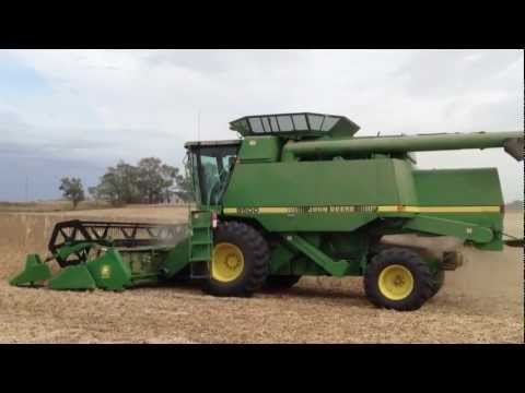 Combine harvesting soybeans in Wisconsin