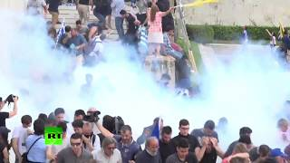 RAW: Greek protesters clash with cops amid Macedonia name row - RUSSIATODAY