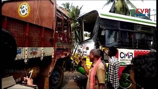 Road Mishap in East Godavari District | Lorry Hits RTC Bus at Mummidivaram | CVR News - CVRNEWSOFFICIAL