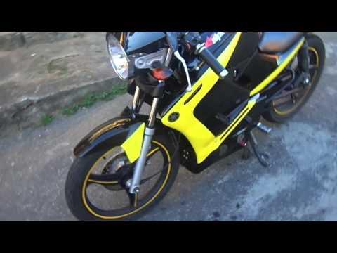 ybr factor tunada preta com faixa amarela