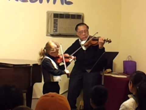 8yo G playing Mozart Easy Violin Duet with his teacher Mr. Chiu. School recital, April 2014