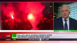Labour Law Fury: Rallies held across France over Macron's reform - RUSSIATODAY