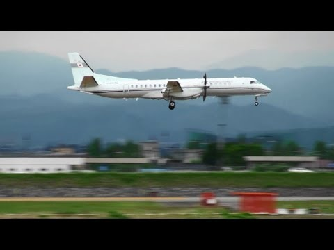 [Low Approach for LLZ Inspection] JCAB Saab 2000 JA004G Low Pass TOYAMA Airport 富山空港 2013.5.20
