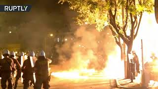Molotov cocktails & flash bang grenades: Clashes erupt in Greece during Antifa protest - RUSSIATODAY