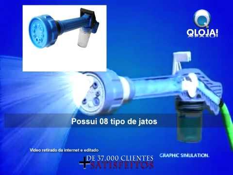 Esguicho de Mangueira Tipo Pistola com 8 bicos reservatório sabão alta pressão - qloja