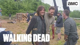 (SPOILERS) 'Aaron's Logroll Scene' Making of Ep. 902 BTS | The Walking Dead - AMC