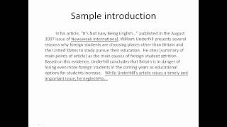how to write a critique paper example