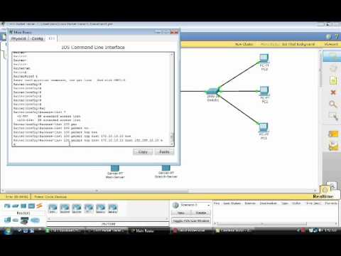 how to configure an extended ACL using cisco packet tracer