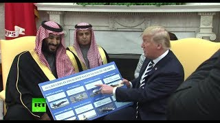 'That's peanuts to you': Trump brings props showing Saudi weapons purchases - RUSSIATODAY