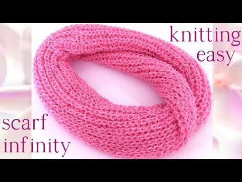 Como tejer Bufanda Infinita circular tubular fácil a dos agujas - scarf infinity