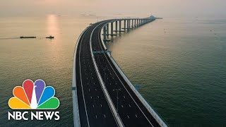 World's Longest Sea-Crossing Bridge Opens In Southern China | NBC News - NBCNEWS