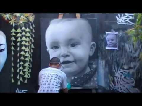 Baby Graffiti Portrait by Akse P19 crew Time Lapse