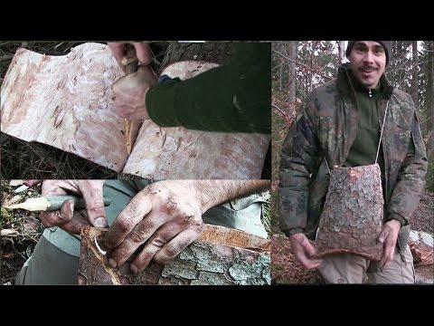 Bau eines Waldläufer Rindenbeutel, erste Versuche [Waldläufer Wissen]