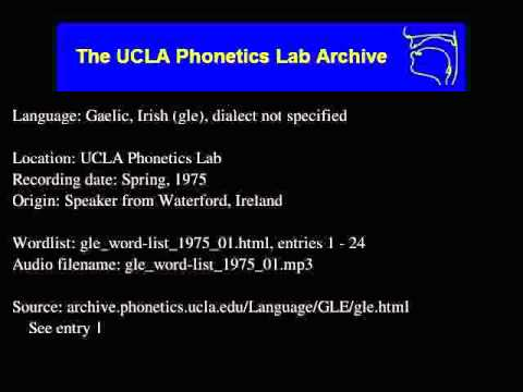 Gaelic, Irish audio: gle_word-list_1975_01