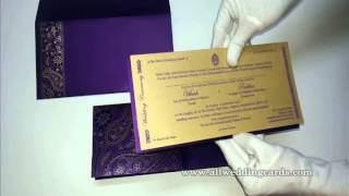 [W-4454, Purple Color, Shimmer Paper, Hindu Wedding Designer ...] Video