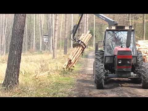 zrywka drewna zetor i przyczepa palms