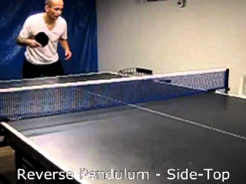 Table tennis serve - Reverse Pendulum, side-top   (slow motion)