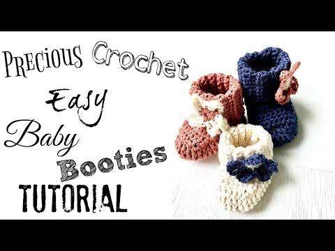 Easy Crochet Baby Booties Tutorial