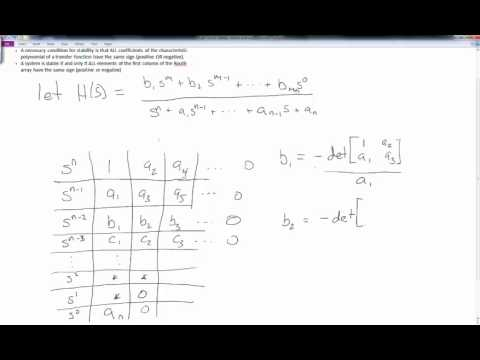 Routh Hurwitz Stability Criterion   part 1