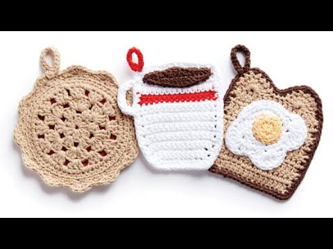 How to Crochet A Pot Holder: Toast & Egg