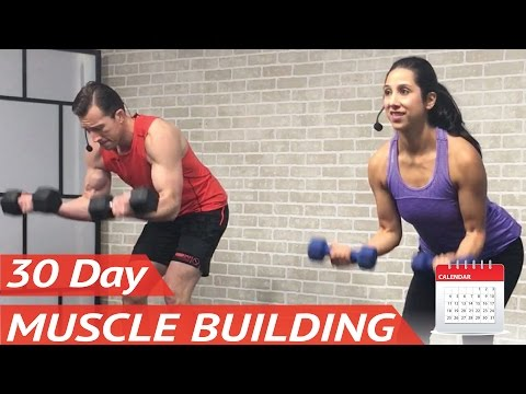 30 Day Muscle Building Program 💪 +20 FREE Full-Length Bodybuilding Workouts at Home for Men & Women