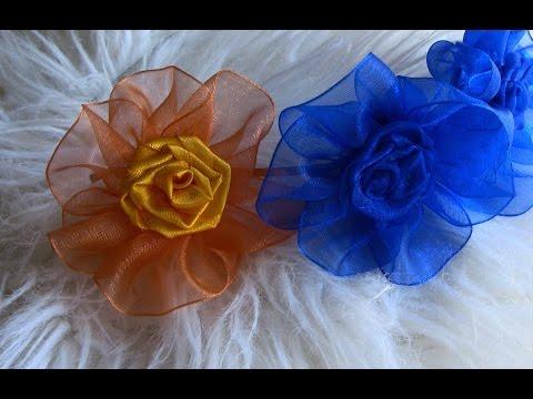 Flor com Fita de ORGANZA Passo a Passo- Kanzashi Flower, Ribbon Rose,Tutorial, DIY dinle, FLOR COM FITA DE ORGANZA...