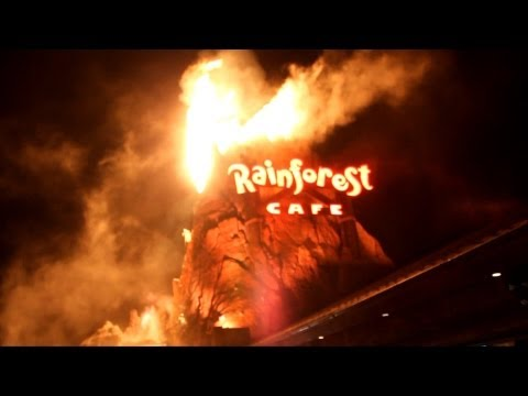Rainforest Cafe New Volcano Erupting with Fire and Lava at Downtown Disney - Walt Disney World