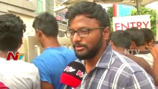 Baahubali Mania || Huge Fans Rush for Baahubali 2 Tickets at Hyderabad theaters || NTV - NTVTELUGUHD